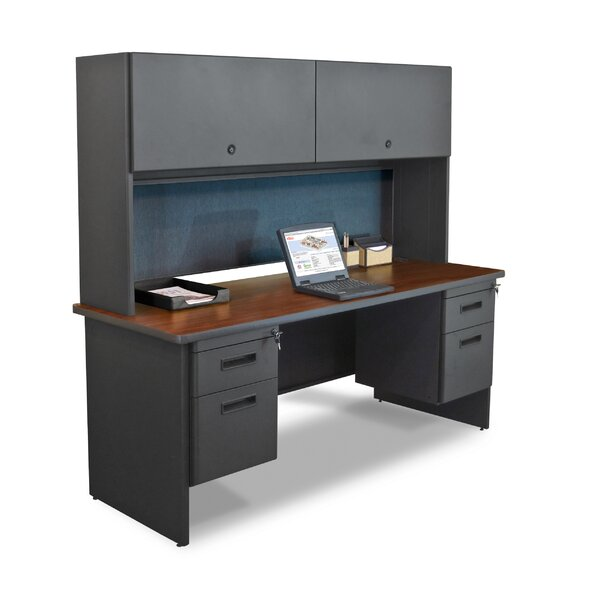 Pronto Flipper Door Cabinet and Lock Computer Desk with Hutch by Marvel Office Furniture