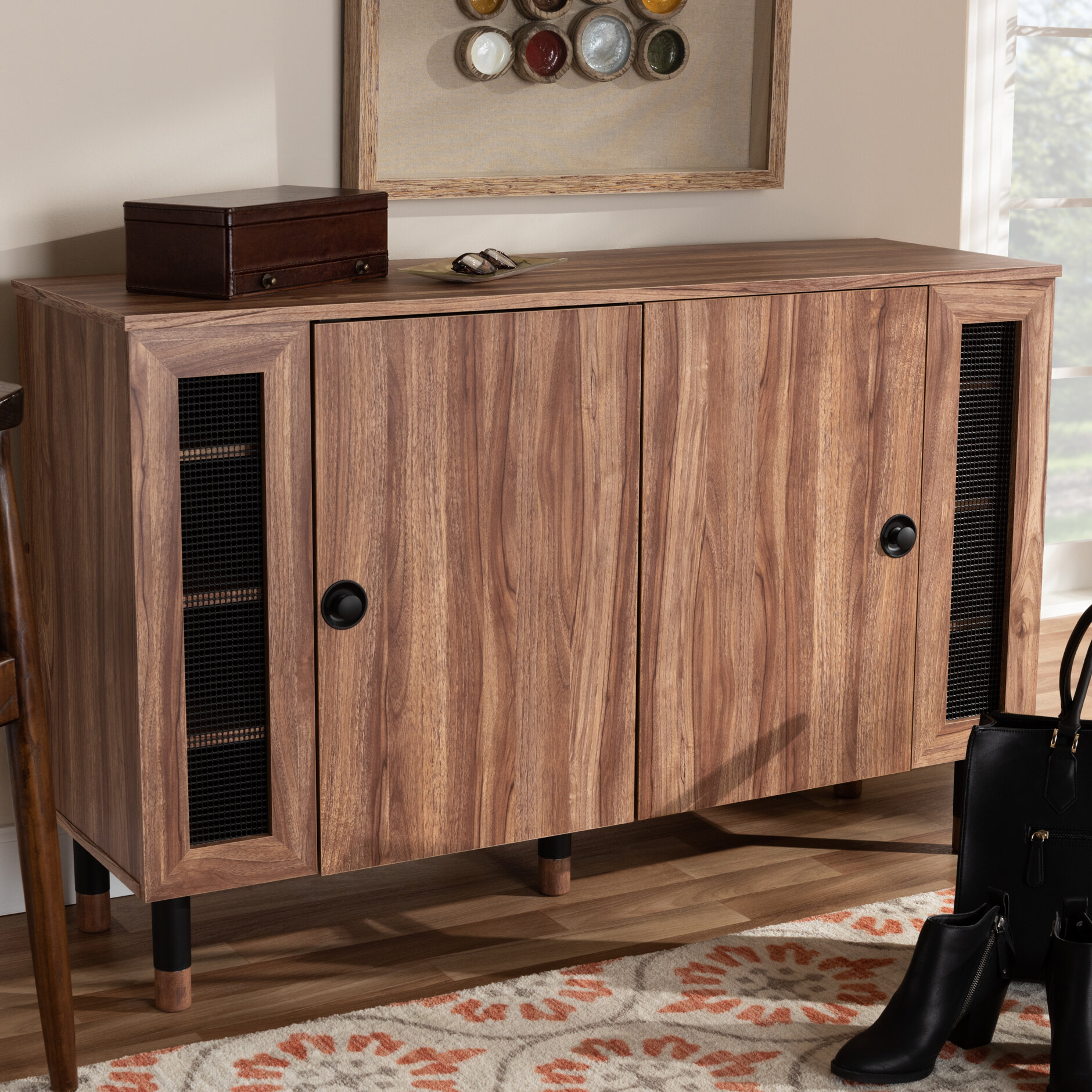 Modern And Contemporary 2 Door Wood Entryway 16 Pair Shoe Storage Cabinet