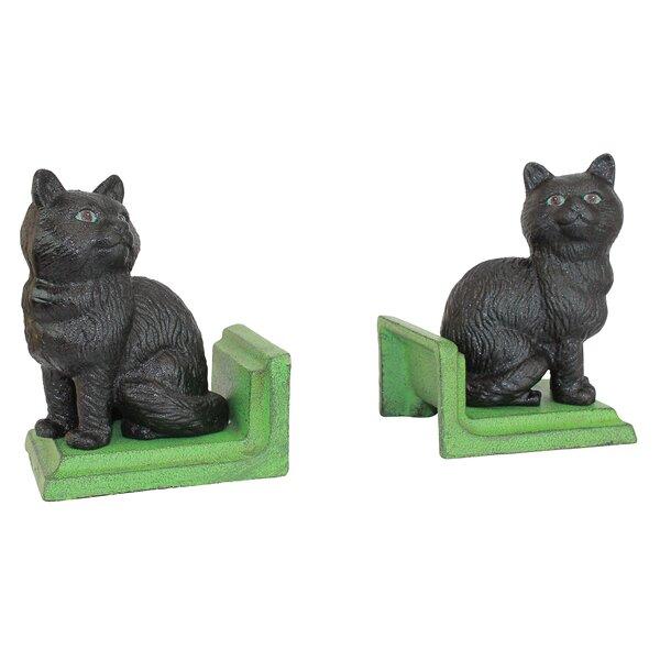 2 Piece Kitten Kibitzing Cat Cast Iron Sculptural Book End Set by Design Toscano