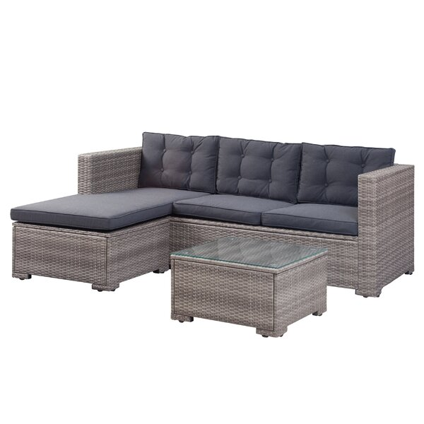 Henrie 3 Piece Rattan Sectional Set with Cushions by Beachcrest Home