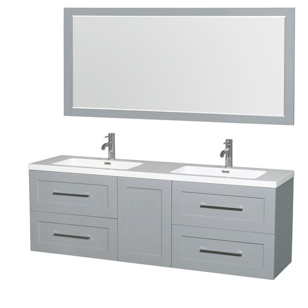 Olivia 72 Double Dove Gray Bathroom Vanity Set with Mirror by Wyndham Collection