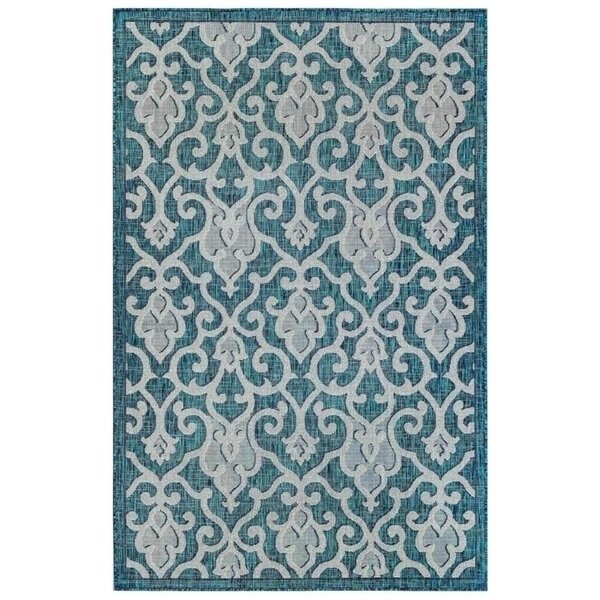 Arverne Baroque/Teal Indoor/Outdoor Area Rug by Charlton Home