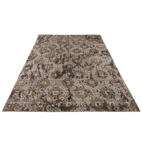 Leffel Hand-Knotted Walnut Area Rug by Rosdorf Park