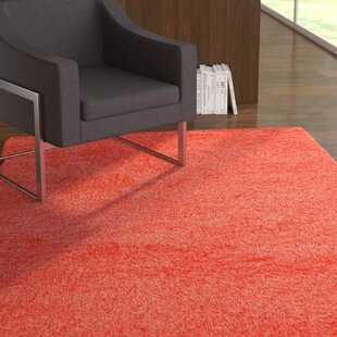 Azaleh Thick Plush and Cozy Hand-Tufted Coral Area Rug by Ebern Designs