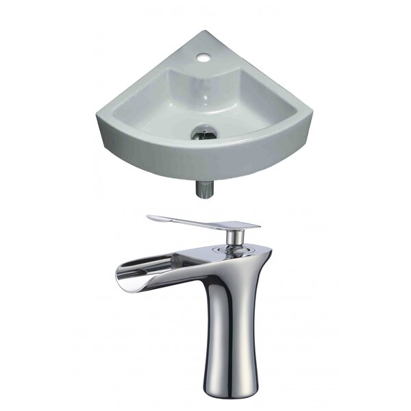 Specialty Ceramic 19 Wall Mount Bathroom Sink with Faucet and Overflow by American Imaginations