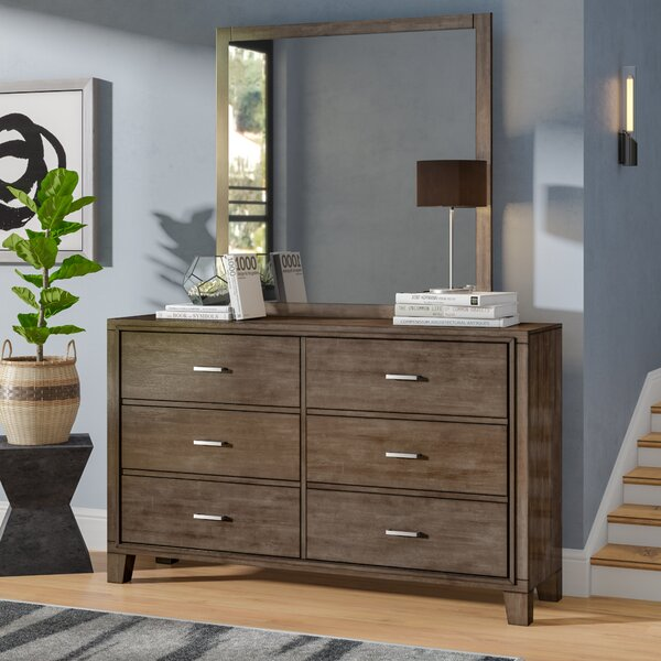 Brigham 6 Drawer Double Dresser with Mirror by Trule Teen
