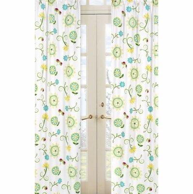 Layla Floral/Flower Semi-Sheer Rod Pocket Curtain Panels (Set of 2) by Sweet Jojo Designs