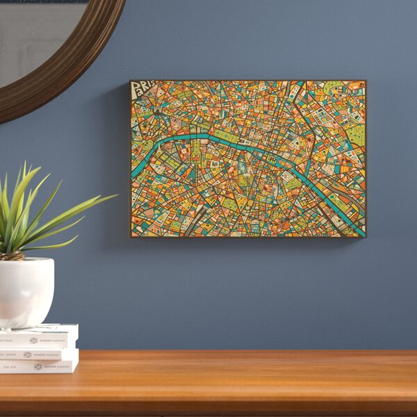 Paris Street Map Graphic Art on Wrapped Canvas by Langley Street