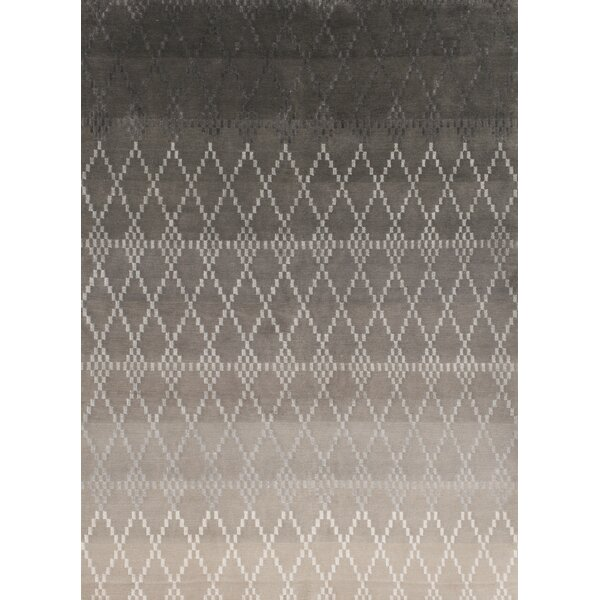Misty Hand-Knotted Silver Area Rug by Linie Design