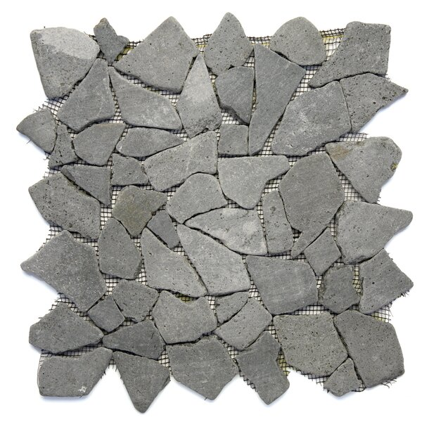 Decorative Pebbles Random Sized Natural Stone Pebble Tile in Java Black by Solistone