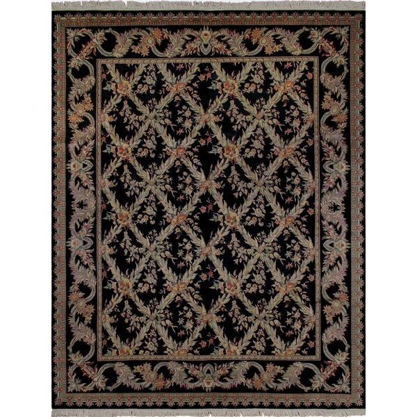 One-of-a-Kind Cecelia Hand Knotted Wool Black Area Rug by Fleur De Lis Living