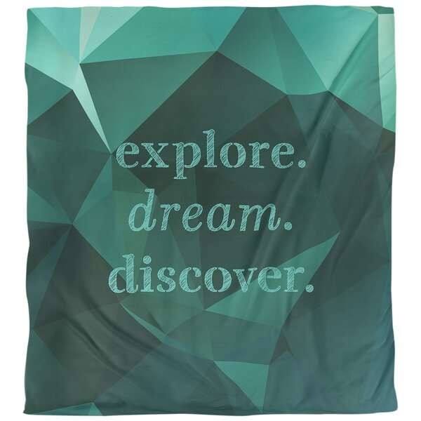 Quotes Faux Gemstone Explore Dream Discover Single Reversible Duvet Cover