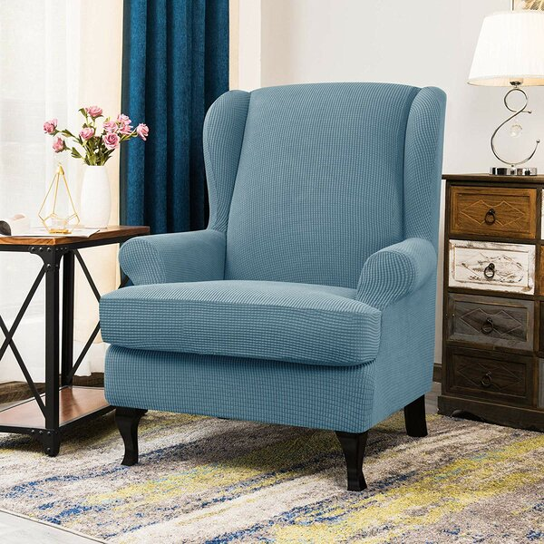 Aolise Stretch Jacquard Spandex T-Cushion Wingback Slipcover By CHUN YI