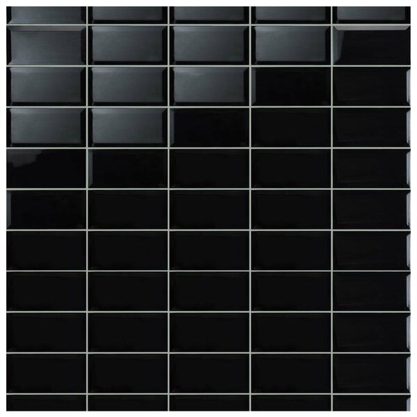 Thira 4 x 7.88 Ceramic Subway Tile in Biselado Nero by EliteTile