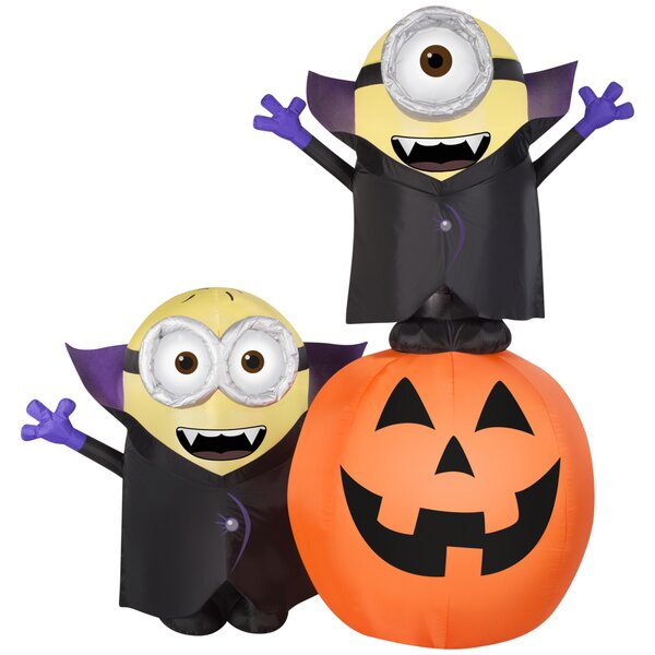 Airblown Inflatables Gone Batty Minions with Pumpkin Scene by Gemmy Industries