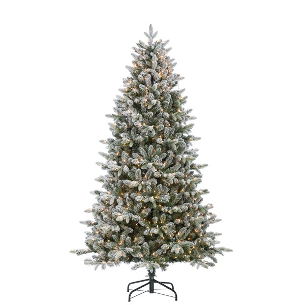 Natural Cut Flocked Mountain Green Fir Artificial Christmas Tree with Clear White Lights with Stand by The Holiday Aisle