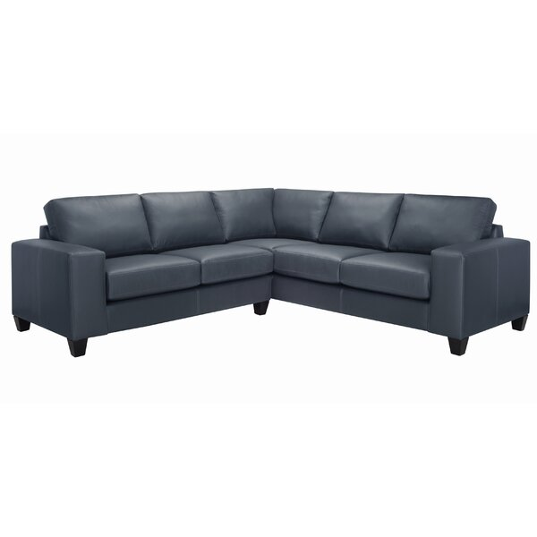 Gilford Symmetrical Italian Leather Sectional By Latitude Run