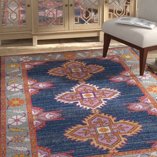 Arteaga Persian Inspired Dark Blue Area Rug by Bungalow Rose