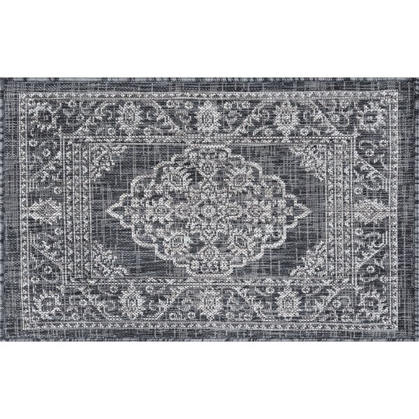 Haxby Traditional Medallion Charcoal Indoor/Outdoor Area Rug by Alcott Hill