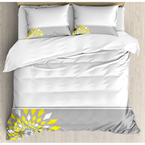 Modern Futuristic Border with Geometric Flower Frame Duvet Set by Ambesonne