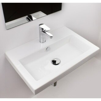 40 Ceramic 24 Wall Mount Bathroom Sink with Overflow by Ceramica Tecla by Nameeks