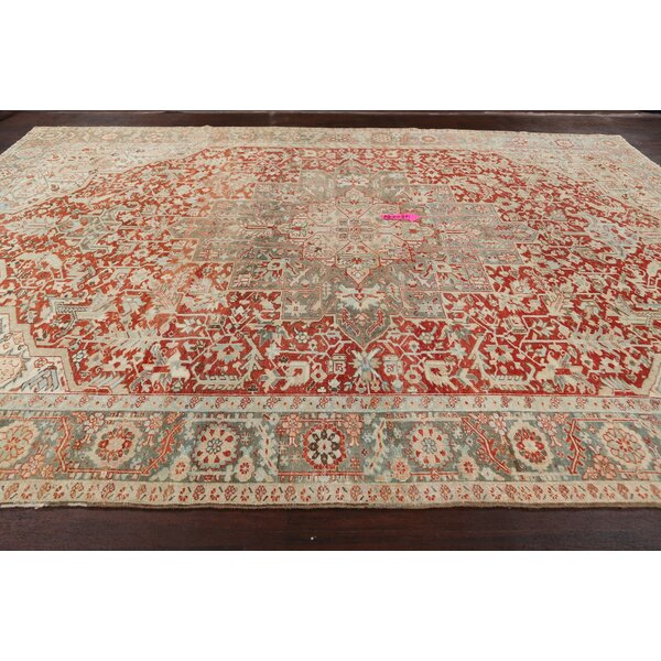 One-of-a-Kind Hand-Knotted Heriz Red/Cream 8'2 x 9'8 Wool Area Rug