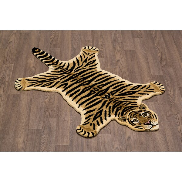 Hewitt Tiger Skin Shape Hand Woven Wool Brown/Black Area Rug by Zoomie Kids