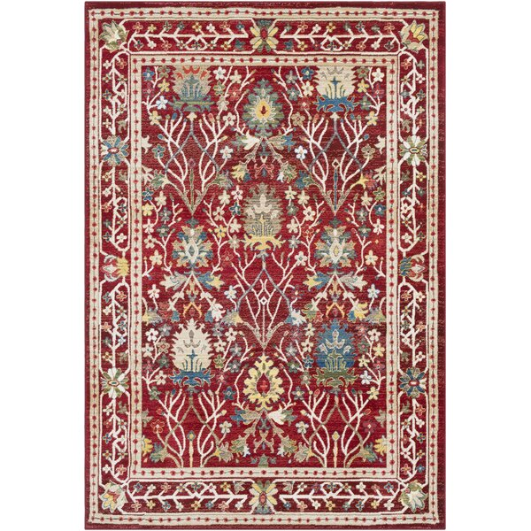 Arbouet Traditional Floral Rectangle Dark Red/Cream Area Rug by Charlton Home