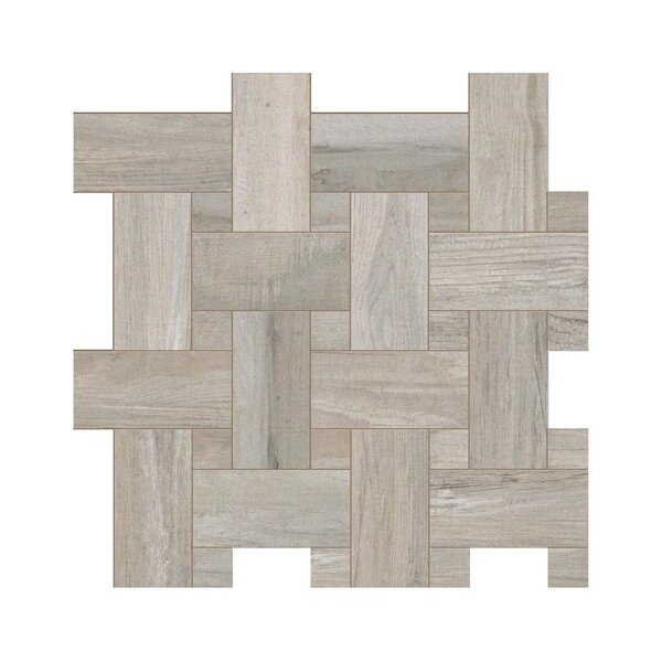 Travel Intreccio Décor 12 x 12 Porcelain Wood Look Tile in East Gray by Travis Tile Sales
