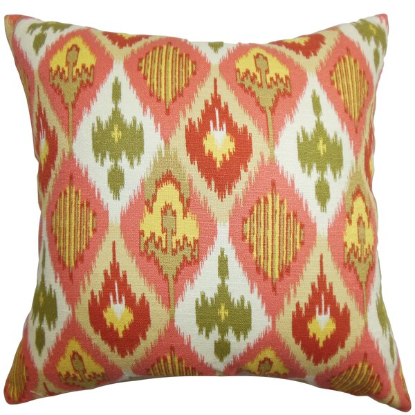 Bechet Ikat Cotton Throw Pillow by The Pillow Collection