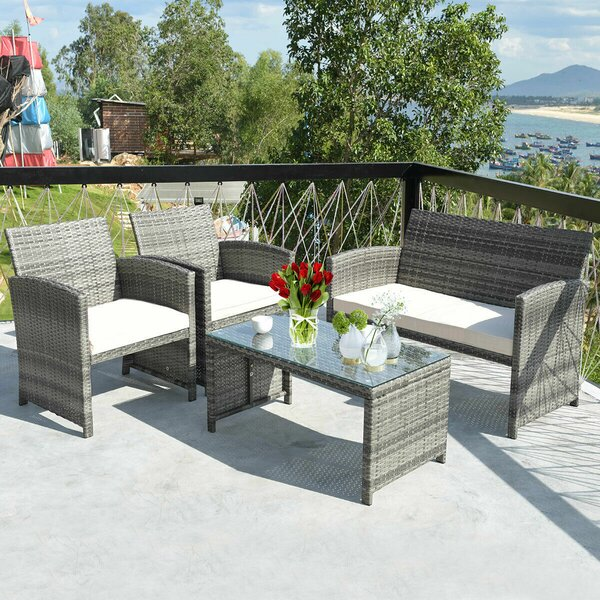 Heartwell 4 Piece Rattan Sofa Seating Group with Cushions by Ebern Designs
