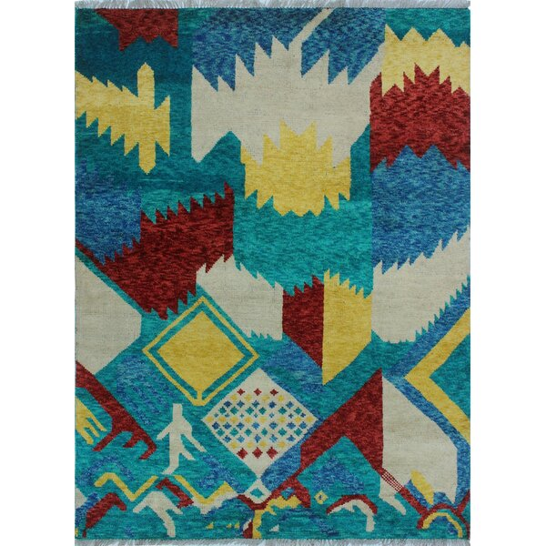 One-of-a-Kind Millender Aba Hand-Knotted Wool Blue Area Rug by Bloomsbury Market
