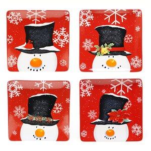 Top Hat Snowman 4 Piece Dinner Plate Set