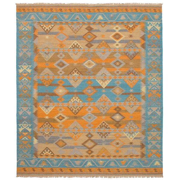 Norwell Wool Orange/Turquoise Area Rug by Loon Peak