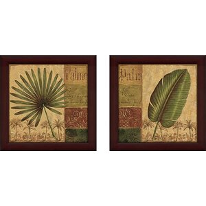 Palmera' 2 Piece Framed Acrylic Painting Print Set Under Glass by World Menagerie