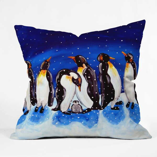 Renie Britenbucher Penguin Party Throw Pillow by Deny Designs
