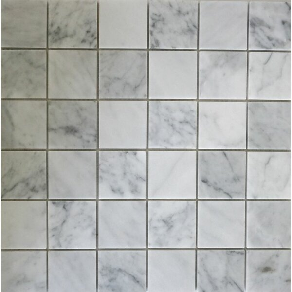 2 x 2 Mosaic Tile in Bianco Carrara by Ephesus Stones