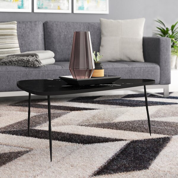 Athanas Small Coffee Table With Marble And Iron Legs By Brayden Studio