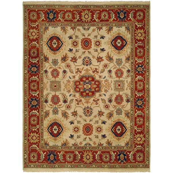 Anasztázia Hand-Knotted Wool Ivory/Red Rug