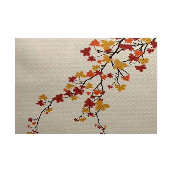 Macaro Maple Hues Flower Print Orange Indoor/Outdoor Area Rug by Red Barrel Studio