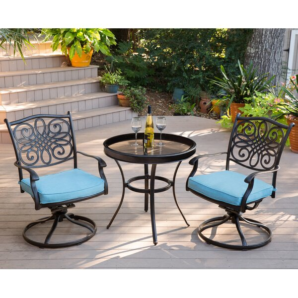Barrowman Swivel 3 Piece Bistro Set with Cushions by Darby Home Co