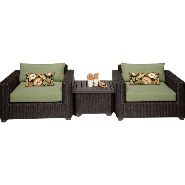 Fairfield 3 Piece Rattan Conversation Set with Cushions by Sol 72 Outdoor
