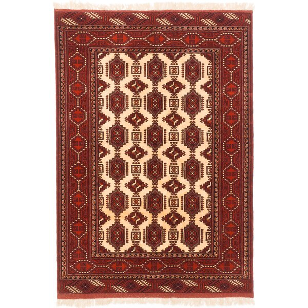 One-of-a-Kind Shiravan Bokhara Hand-Knotted Cream/Dark Orange Area Rug by ECARPETGALLERY