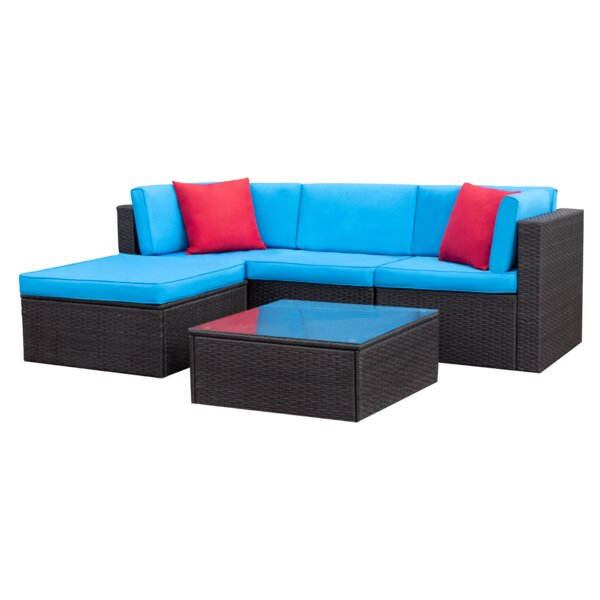 Stotesbury 5 Piece Rattan Sectional Seating Group with Cushions by Ebern Designs