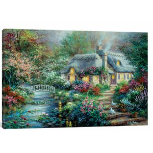 'Little River Cottage' Painting Print on Canvas by East Urban Home