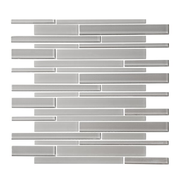 Linear Random Sized Glass Mosaic Tile in Cathedral Gray by Vicci Design