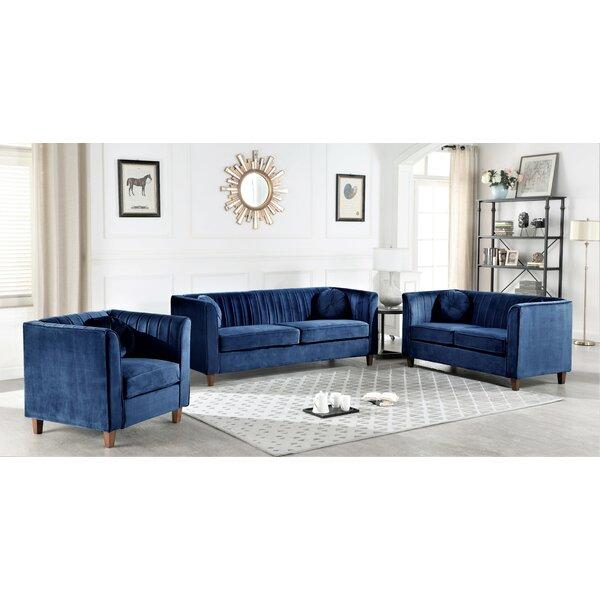 Brennon Chesterfield 3 Piece Living Room Set by Mercer41 Mercer41