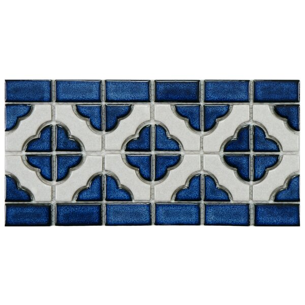 Castle 5.75 x 11.75 Porcelain Mosaic Tile in White/Cobalt by EliteTile