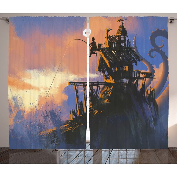 Fantasy Art House Fisherman Sitting on the Castle Standing over Rocky Cliffs Haunted Paint Graphic Print & Text Semi-Sheer Rod Pocket Curtain Panels (Set of 2) by East Urban Home