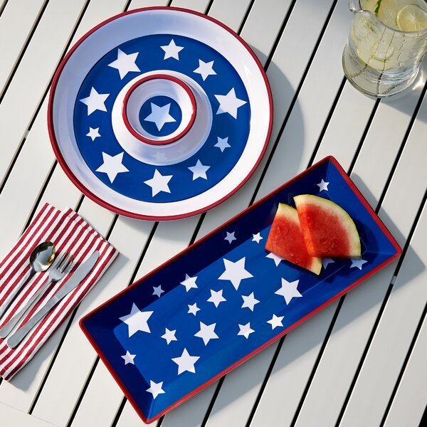 Yankee Doodle 2 Piece Appetizer Melamine Platter Set by Birch Lane™
